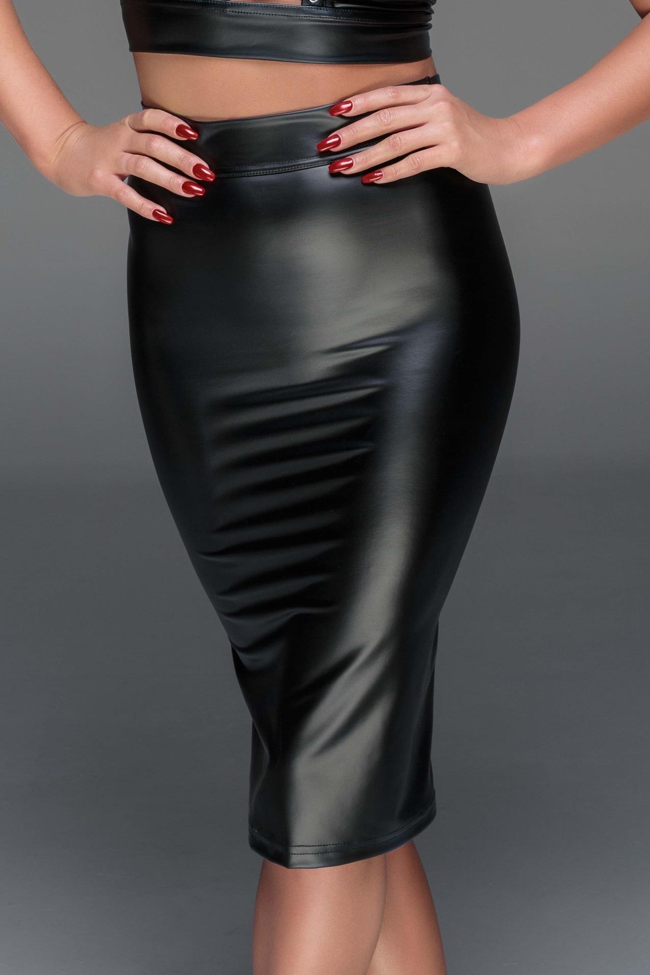 F152 schwarzer Rock aus Powerwetlook von Noir Handmade EAN: 5903050100544