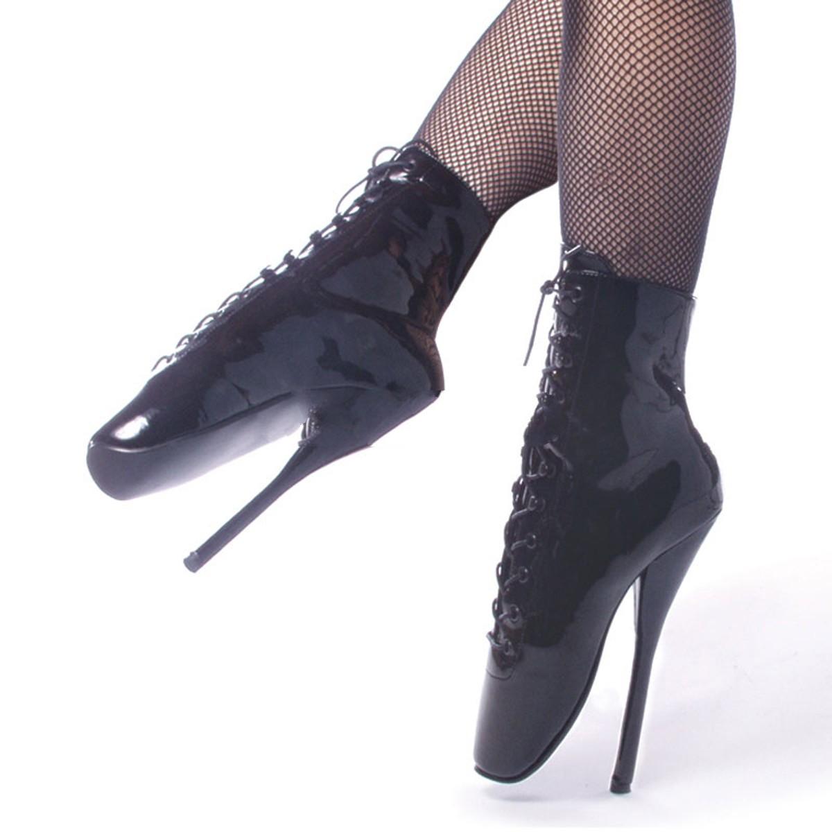 Devious Ballet-1020 – extreme Fetisch High Heels schwarz-Lack – BAL1020/B