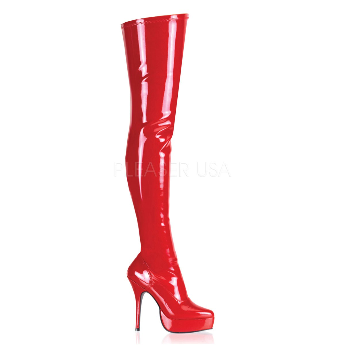Devious Indulge-3000 – Sexy Fetisch Plateau High Heels Overknee Stiefel rot Lack –  IND3000/R