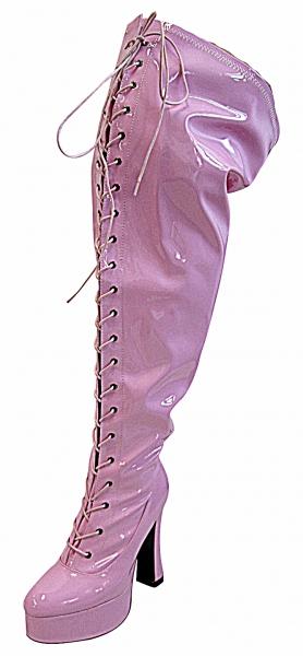 Plateau Overknee Weitschaft Stiefel Pink