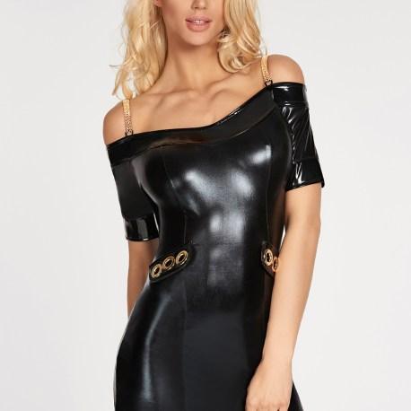 Schwarzes Wetlook-Kleid Diadema von 7-Heaven EAN: 5904686042925