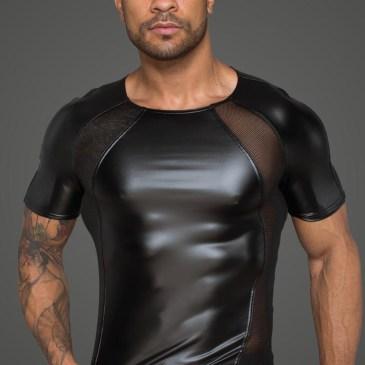 H056 Herren T-Shirt aus Powerwetlook mit 3D Netzeinsätzen von Noir Handmade Rebellious Collection