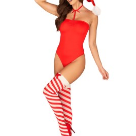 Kissmas teddy red with stockings von Obsessive