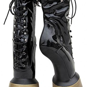 Extrem Pony High Heels Boots schwarz gold