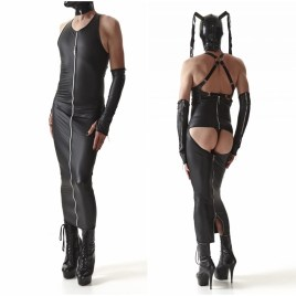 CRD005 Langes Herren-Kleid schwarz von Regnes Fetish Planet Crossdresser Fetish Line
