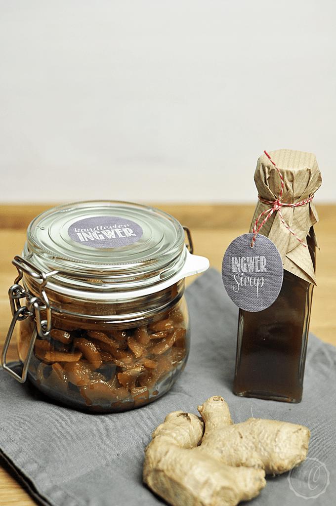 Etiketten für kandierten Ingwer und Ingwer Sirup