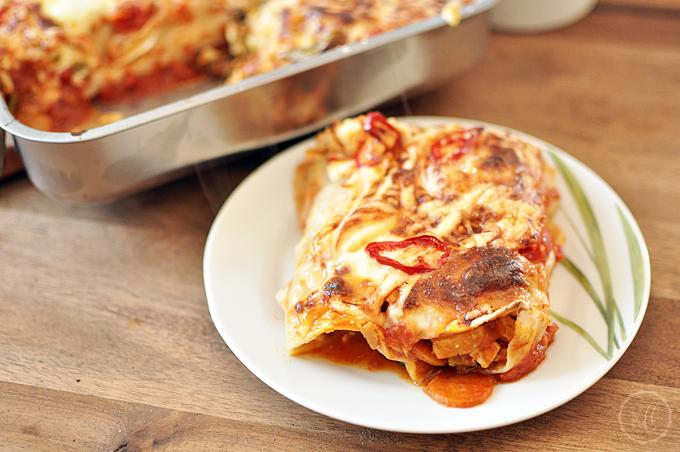 Überbackene Enchiladas mit Herbstgemüse