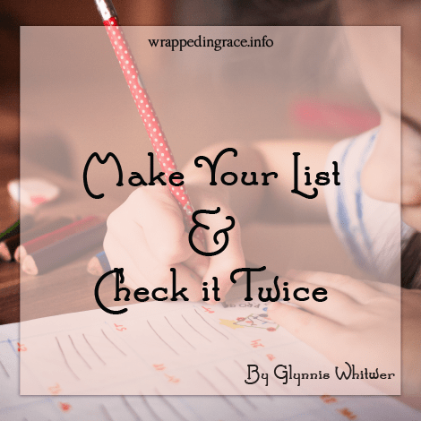 Make Your List and Check it Twice by Glynnis Whitwer