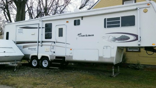 Side view of a fifth wheel camper.
