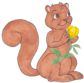 squirrel-holding-flower