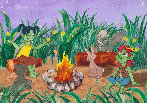 Starlit Troll sharing stories by the campfire