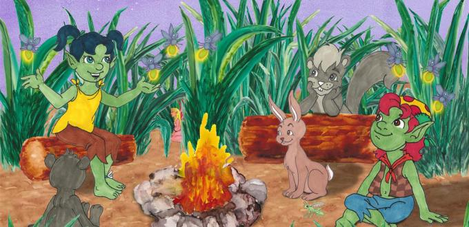 Starlit Troll sharing stories by the campfire Award Winning Author Kathleen J Shields educational books hamilton troll