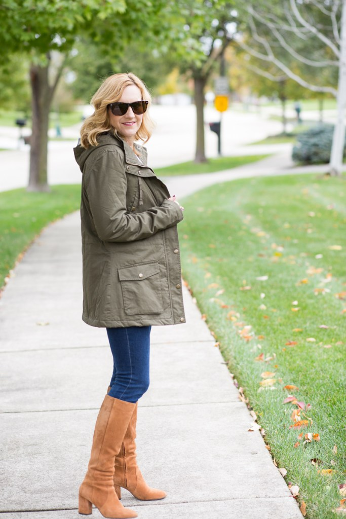 Olive Green Jacket with Tan Suede Boots