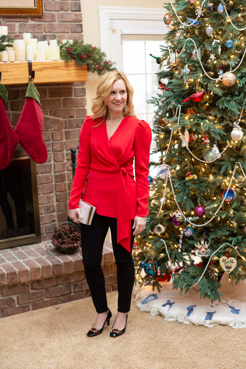 Found the perfect red holiday blouse from Rent the Runway.