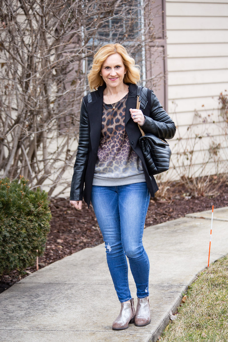 Faux Leather Moto Blazer with a Leopard Print Top and Skinny Jeans