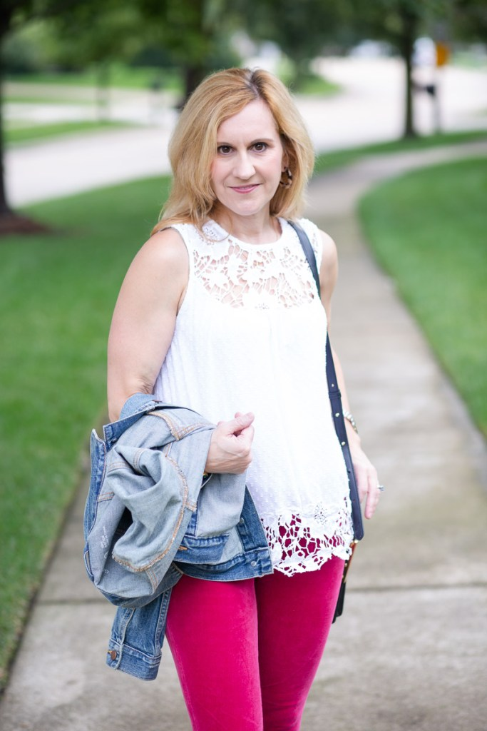 A lace blouse and pink corduroy jeans from Anthopoloige.