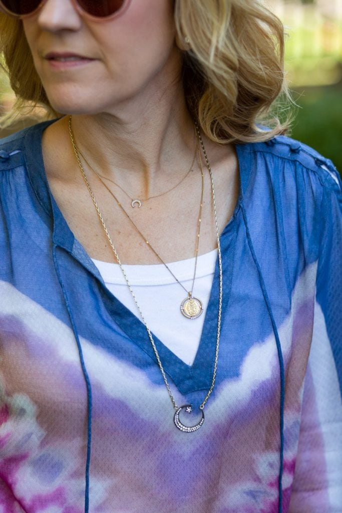 Layering Stella & Dot necklaces with a tie-dyed peasant blouse.