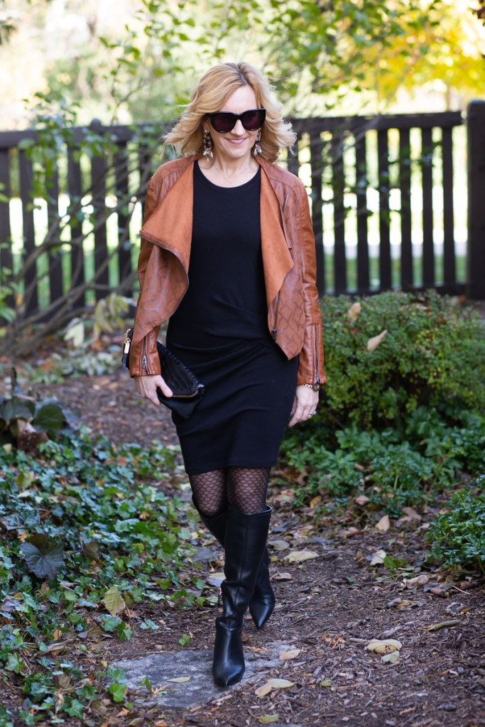 An edgy night out look featuring a leather jacket and a black sweater dress.