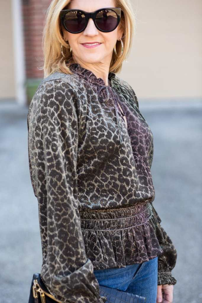 Melina Shimmer Leopard Top by Current Air