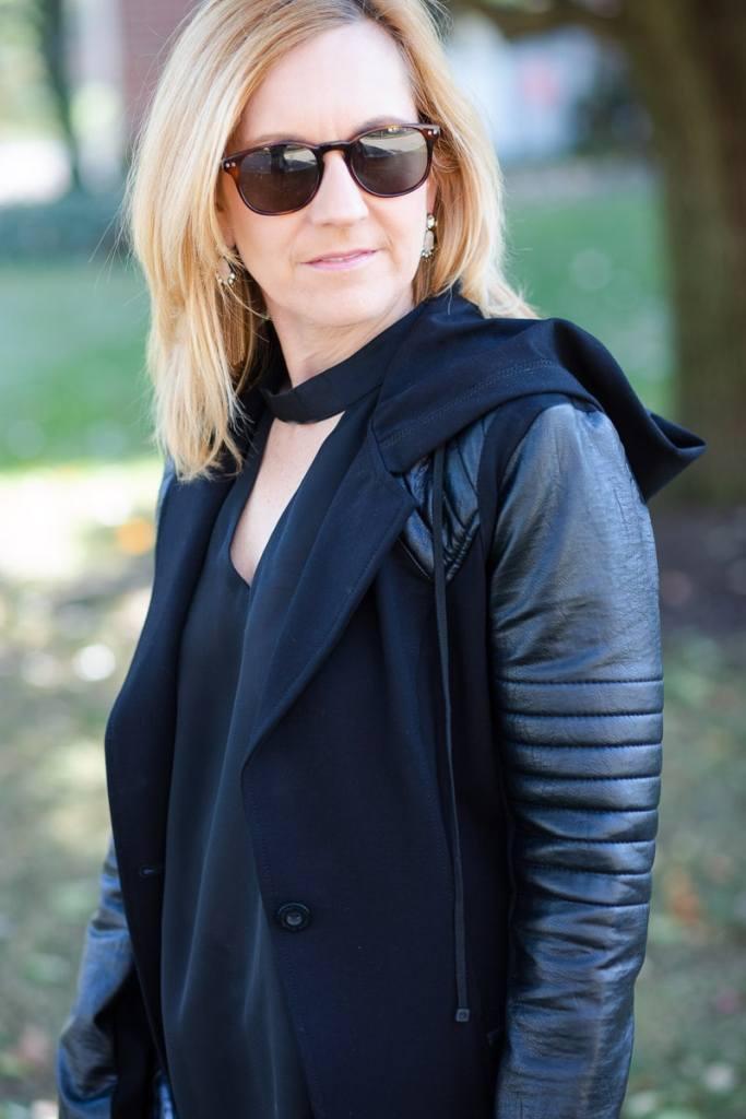 Blank Noir Hooded Moto Jacket
