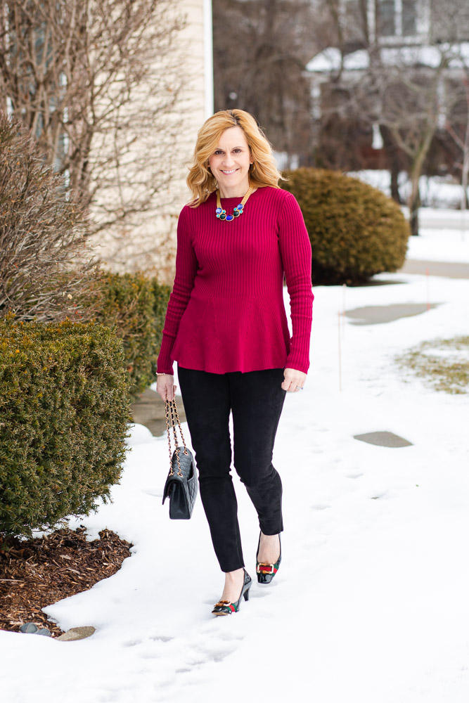 Dressing up a red sweater for Valentine's Day.