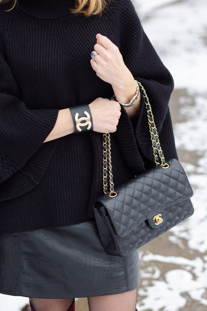 Classic Chanel Quilted Handbag and Chanel Leather Cuff
