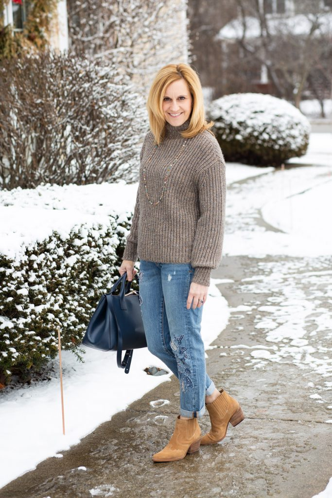 A casual winter look featuring a mock sweater and boyfriend jeans.