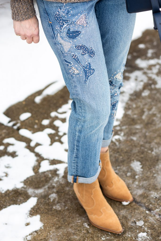 Embroidered Boyfriend Jeans by Pilcro and the Letterpress