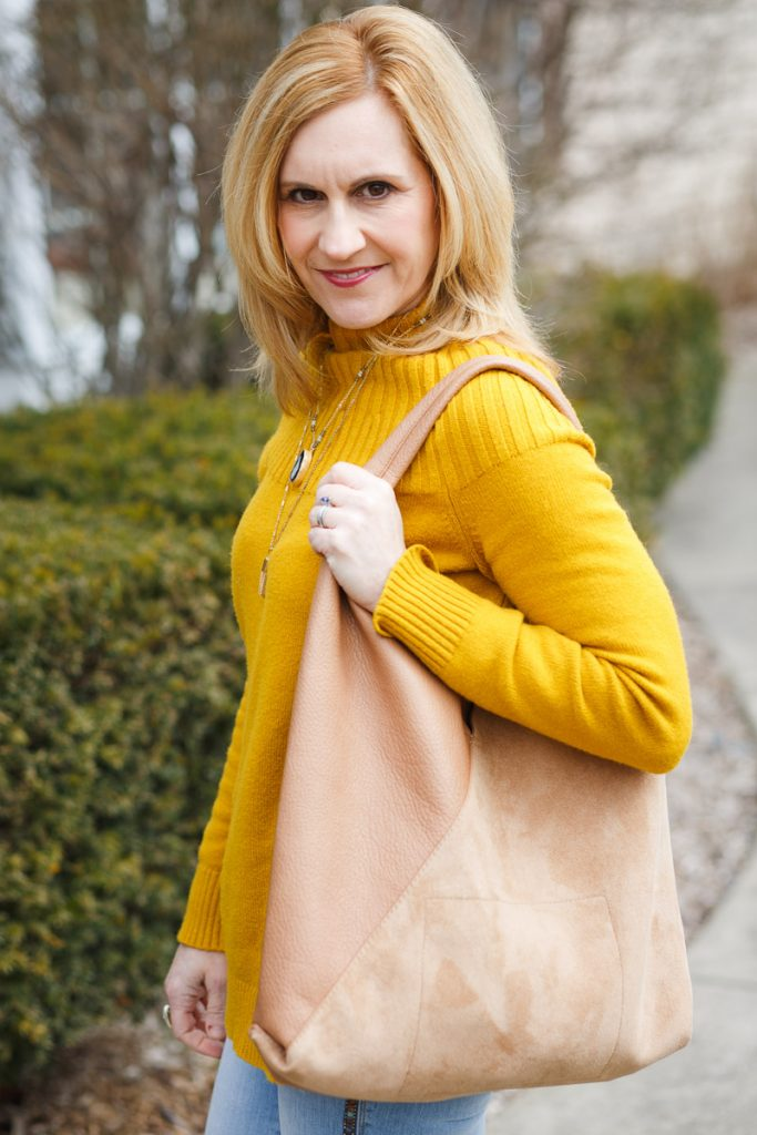 Yellow Welford Tunic Sweater with Shiraleah Arden Tote
