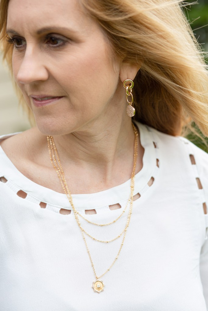 Layered Necklace and Earrings by Ettika