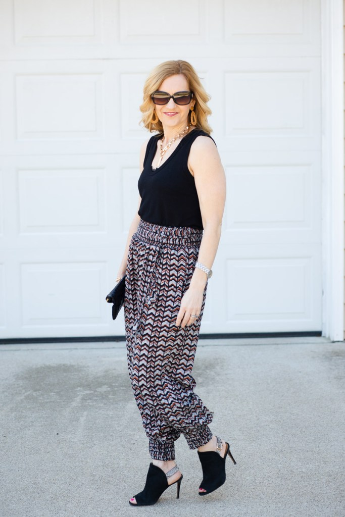 Styling dressy joggers for a night out.