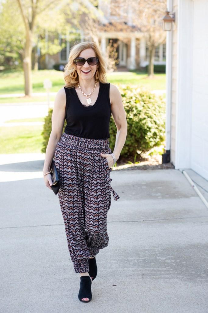 How to Dress Up Printed Joggers by Kathrine Eldridge, Wardrobe Stylist