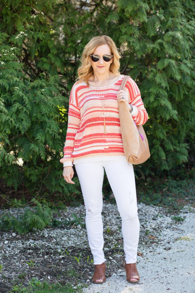A colorful striped sweater that is perfect for Spring.