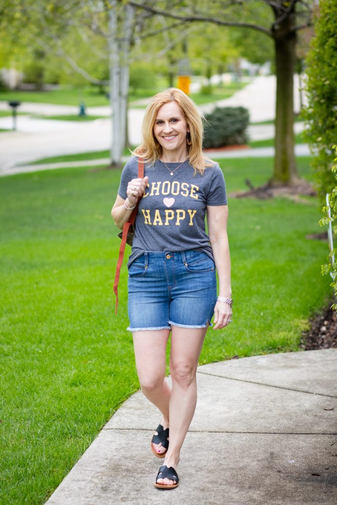 Wearing a Choose Happy tee from Target.