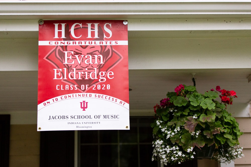 Evan Eldridge's graduation banner featuring Indiana University.