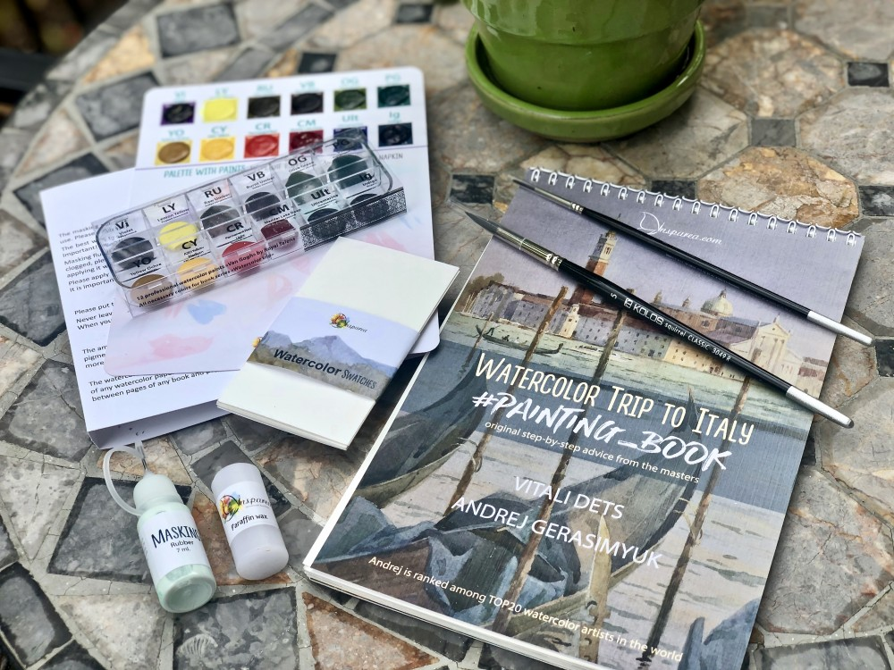 Watercolor Trip to Italy Painting Book with Supplies