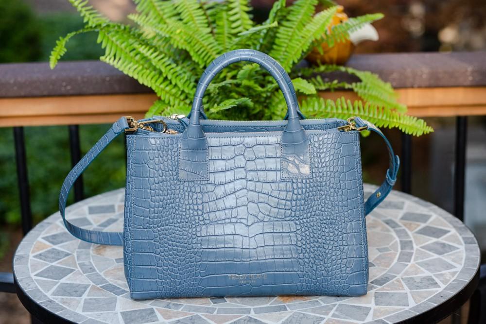 """Teddy Blake Bella Croc 12"""" Handbag in Blue"""