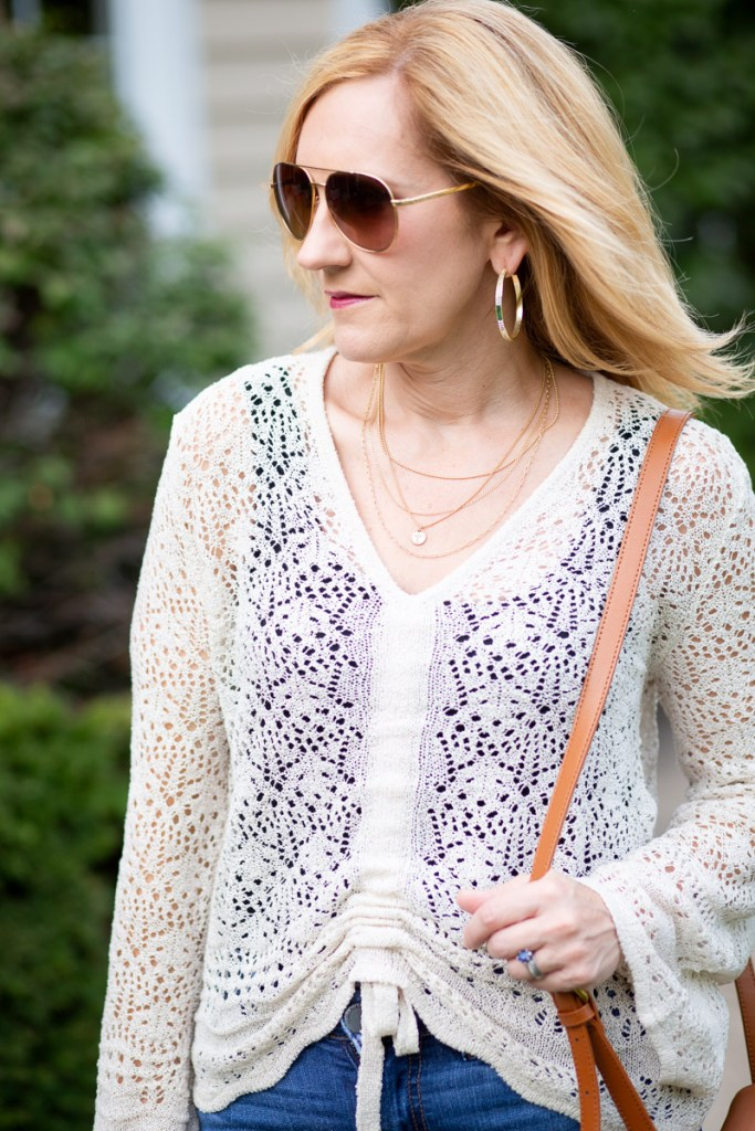 Ruched Pointelle Cardigan Sweater by Cato Fashions