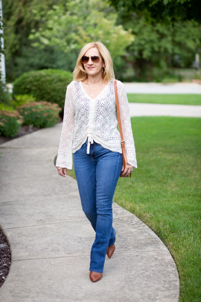 A casual look featuring a pointelle cardigan from Cato Fashions.