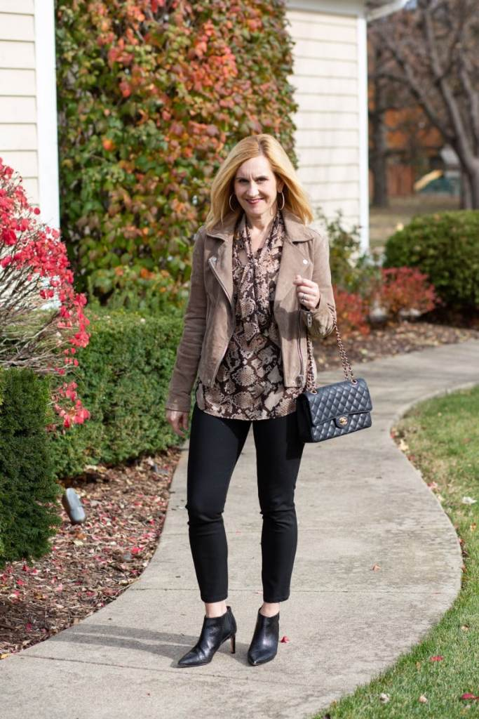 Mixing snakeskin and suede for a chic fall outfit.