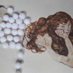 """Egon Schiele """"Am Bauch liegender weiblicher Akt mit offenem, rotem Haar"""""""