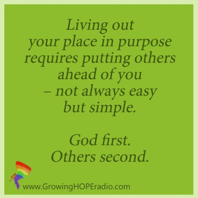 Growing HOPE Daily - quote - God first - others second