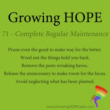 Growing HOPE Daily - 5 Points - 71 - Complete Regular Maintenance
