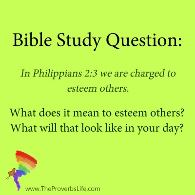 bible study question - esteem one another