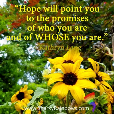Quote of the day - Hope will point to the promise