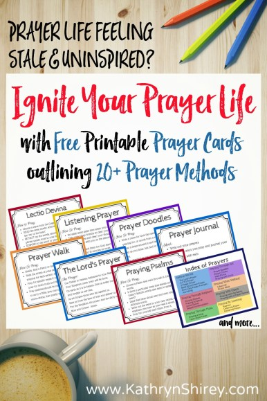 Is your prayer life feeling stale? Explore 23 creative prayer methods to connect with God using all your senses. Find new ideas to pray deeper, develop your prayer language, and reignite your prayer life. + Free printable prayer cards outlining all 23 prayer methods and ideas for prayer!