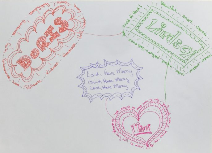 Example of using prayer doodles to pray for others