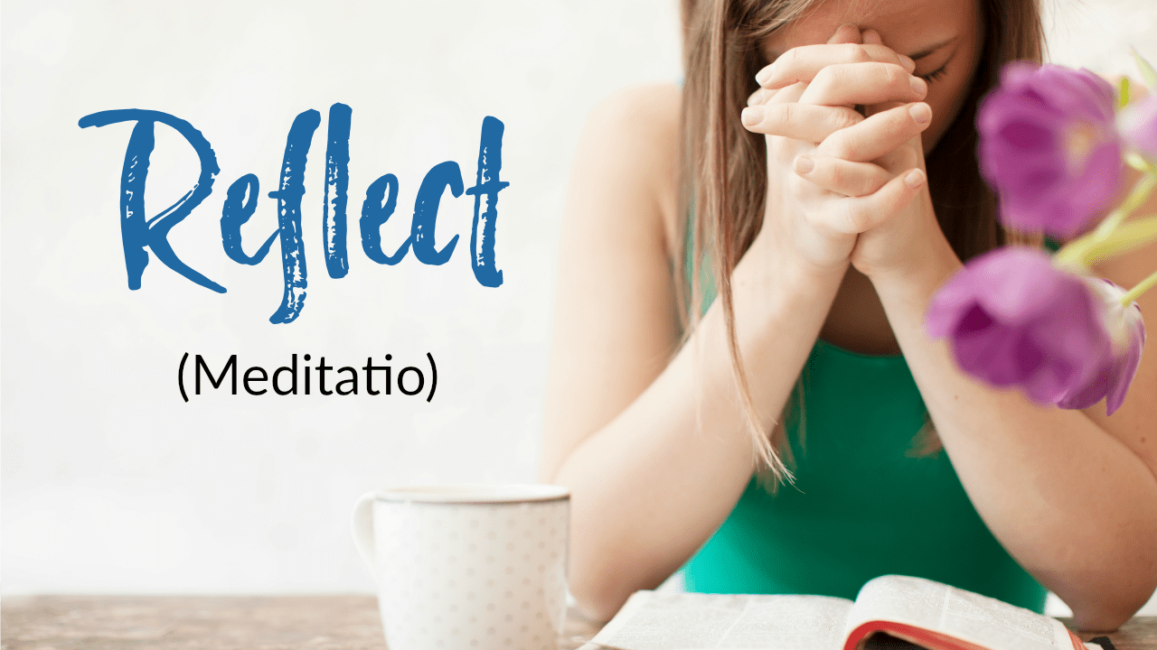 "2nd step to pray Lectio Divina: Reflect (meditatio). Learn how to pray the basic Lectio Divina steps to hear God more clearly in your prayers. Pray scripture with the ""ear of your heart."" (+ free printable prayer cards) #Prayer #HowToPray"