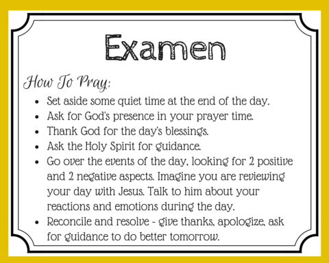 Learn how to use the daily Examen prayer to celebrate the victories, learn from your mistakes and do better next time. Let this prayer be your daily debrief with Jesus. | FREE Examen prayer card