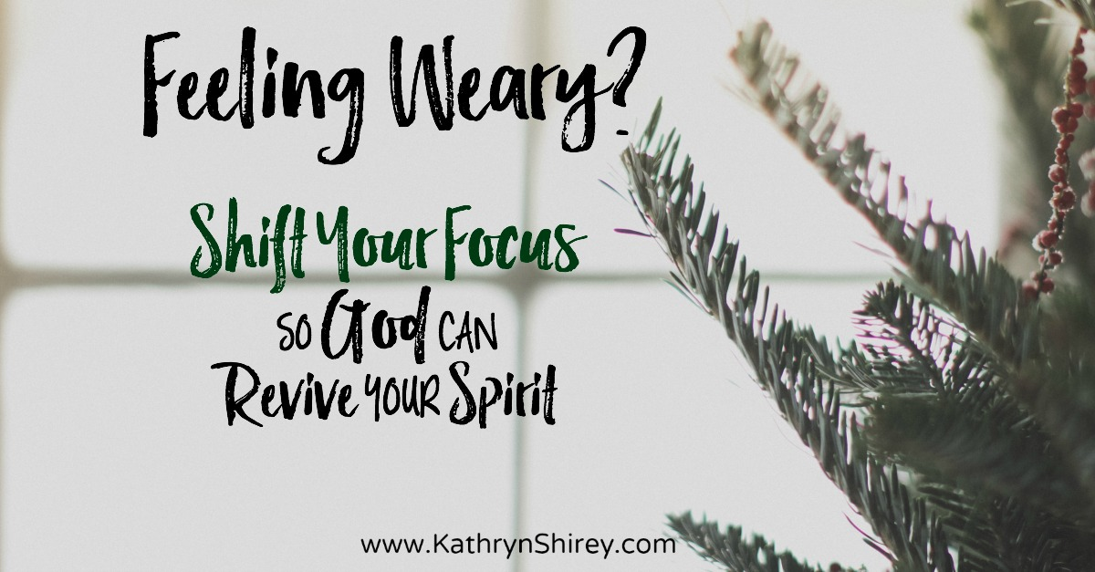 Feeling tired and worn out this holiday season? Longing for fresh energy and a revival of your spirit? Try shifting your focus so God can revive your spirit.